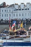Henley-on-Thames. United Kingdom.  2017 Henley Royal Regatta, Henley Reach, River Thames. <br /> Royal Rowbarge Gloriana<br /> <br /> 15:15:02  Sunday  02/07/2017   <br /> <br /> [Mandatory Credit. Peter SPURRIER/Intersport Images.