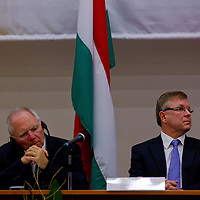 Wolfgang Schaeuble (L) Finance Minister for Germany and Gyorgy Matolcsy (R) Finance Minister for Hungary attend the Europe on Crossroads conference organized by Corvinus University in Budapest, Hungary on December 05, 2011. ATTILA VOLGYI