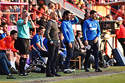Exeter City manager Paul Tisdale and Lincoln City manager Danny Cowley during the EFL Sky Bet League 2 match between Exeter City and Lincoln City at St James' Park, Exeter, England on 17 May 2018. Picture by Graham Hunt.