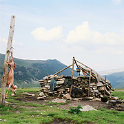 A skinned sheep hangs on a pole outside a basic stone built sheepfold on the Urdele Pass in the remote Carpathian Mountains, Romania. The shepherds spend the summer months living up in the mountains with the sheep moving when fresh grazing areas are needed.