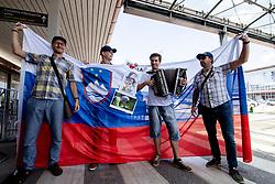 Fans at reception of Primoz Roglic, Olympic gold medalist during his arrival from Tokyo 2020 on July 30, 2021 in Airport Joze Pucnik, Brnik, Ljubljana, Slovenia. Photo by Matic Klansek Velej / Sportida