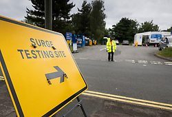 © Licensed to London News Pictures. 19/06/2021. Tattenham Corner, UK. A mobile covid-19 test centre has opened at Tattenham Corner, Surrey. Surge testing for the coronavirus is taking place in parts of Surrey after a rise in infections caused by the delta variant. Photo credit: Peter Macdiarmid/LNP