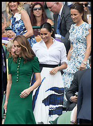 July 13, 2019 - London, London, United Kingdom - Image licensed to i-Images Picture Agency. 13/07/2019. London, United Kingdom. Kate Middleton, the Duchess of Cambridge , Meghan Markle, the Duchess of Sussex and Pippa Middleton arriving in the Royal Box for the Ladies Final on day twelve of the Wimbledon Tennis Championships in London. (Credit Image: © Stephen Lock/i-Images via ZUMA Press)