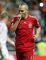 Spain's Andres Iniesta celebratres goal during 15th UEFA European Championship Qualifying Round match. September 5,2015.(ALTERPHOTOS/Acero)