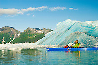 A kayaker paddles by a fresh iceberg that has just calved off of Bear Glacier, Kenai Fjords National Park, Alaska