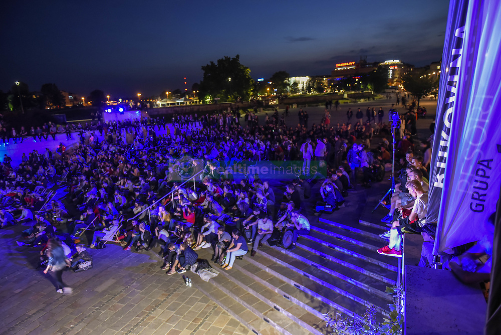 May 22, 2017 - Krakow, Malopolska, Poland - Hundreds of people attend an open air movie screnning  of Tony Scott's ''Top Gun'' during 10th Edition of Krakow Film Music Festival at the   foot of Wawel Hill. (Credit Image: © Omar Marques/Pacific Press via ZUMA Wire)