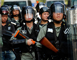 Tuen Mun, Hong Kong. 22 September 2019. Pro democracy demonstration and march through Tuen Mun in Hong Kong. Marchers protesting against harassment by sections of the pro Beijing community. Largely peaceful march had several violent incidents with police using teargas. Several arrests were made. Pictured; Riot police. Iain Masterton Live News.