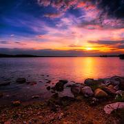Colorful sunset on Pewaukee Lake.