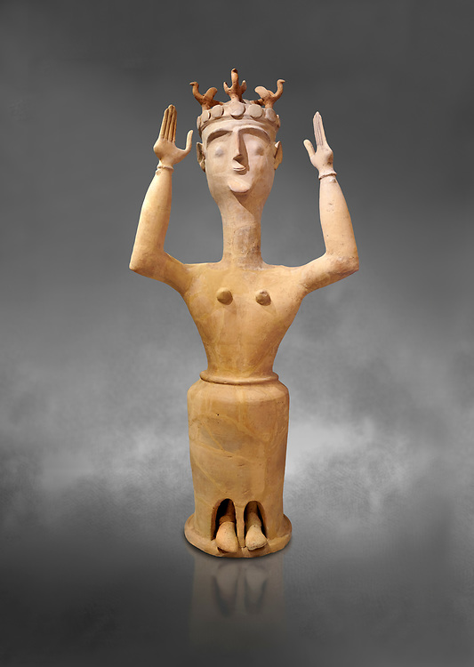 Minoan Postpalatial terracotta  goddess statue with raised arms and bird crown,  Karphi Sanctuary 1200-1100 BC, Heraklion Archaeological Museum, grey background. <br /> <br /> The Goddesses are crowned with symbols of earth and sky in the shapes of snakes and birds, describing attributes of the goddess as protector of nature. .<br /> <br /> If you prefer to buy from our ALAMY PHOTO LIBRARY  Collection visit : https://www.alamy.com/portfolio/paul-williams-funkystock/minoan-art-artefacts.html . Type -   Heraklion   - into the LOWER SEARCH WITHIN GALLERY box. Refine search by adding background colour, place, museum etc<br /> <br /> Visit our MINOAN ART PHOTO COLLECTIONS for more photos to download  as wall art prints https://funkystock.photoshelter.com/gallery-collection/Ancient-Minoans-Art-Artefacts-Antiquities-Historic-Places-Pictures-Images-of/C0000ricT2SU_M9w