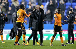 Wolves Manager Nuno Espirito shakes hands with Alfred N'Diaye at full time of the Sky Bet Championship match at the Madejski Stadium, Reading.
