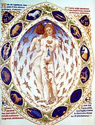 Melothesia' (zodiac man) from the 'Très Riches Heures 1413-1416, the Duc de Berry. Illumination on parchment, Chantilly, Musée Condé