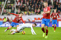 November 15, 2018 - Gdansk, Poland, PATRIK SCHICK from Czech Republic (L) and GRZEGORZ KRYCHOWIAK from Poland (R) during football friendly match between Poland - Czech Republic at the Stadion Energa in Gdansk, Poland