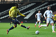 Coventry City forward Gervane Kastaneer (33) gets in a cross during the EFL Trophy match between Milton Keynes Dons and Coventry City at Stadium:MK, Milton Keynes, England on 3 December 2019.