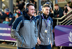 Scotland's Stuart Hogg (left) and Tommy Seymour arrive for the Guinness Six Nations match at BT Murrayfield Stadium, Edinburgh.