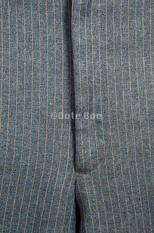 close up of fly of pinstriped pants