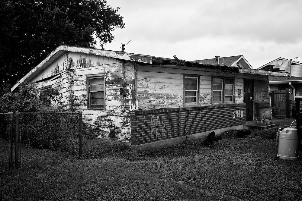 An abandoned and uninhabitable house still sits in a state of disrepair in Pontchartrain Park in Gentilly, New Orleans five years after being damaged by Hurricane Katrina.