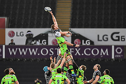 Ospreys' Bradley Davies and Northampton Saints' Michael Paterson contest the lineoput <br /> <br /> Photographer Craig Thomas/Replay Images<br /> <br /> EPCR Champions Cup Round 4 - Ospreys v Northampton Saints - Sunday 17th December 2017 - Parc y Scarlets - Llanelli<br /> <br /> World Copyright © 2017 Replay Images. All rights reserved. info@replayimages.co.uk - www.replayimages.co.uk