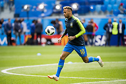 June 22, 2018 - Sankt Petersburg, Russia - 180622 Neymar of Brazil during warm up ahead of the FIFA World Cup group stage match between Brazil and Costa Rica on June 22, 2018 in Sankt Petersburg..Photo: Petter Arvidson / BILDBYRÃ…N / kod PA / 92075 (Credit Image: © Petter Arvidson/Bildbyran via ZUMA Press)