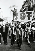 CGT Trade unionists on strike marching from the Bastille to Gare St Lazare, Paris, 29 May 1968.