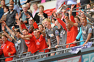Rotherham United players celebrate their win. .Skybet football league one play off final match , Leyton Orient  v Rotherham Utd at Wembley Stadium in  London on Sunday 25th May 2014.<br /> pic by John Patrick Fletcher, Andrew Orchard sports photography.