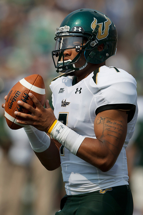 South Florida quarterback B.J. Daniels (#7) in action during NCAA football game between Notre Dame and South Florida.  The South Florida Bulls defeated the Notre Dame Fighting Irish 23-20 in game at Notre Dame Stadium in South Bend, Indiana.
