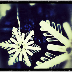 """Snowflake lights, Portsmouth, New Hampshire. iPhone photo - suitable for print reproduction up to 8"""" x 12""""."""