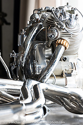 A Vincent engine on a table in Max Hazan's Los Angeles, CA shop. Thursday, June 20, 2019. Photography ©2019 Michael Lichter.