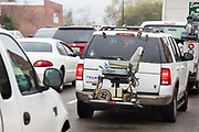 Rush hour traffic on 5th March 2020 in downtown Dothan, The Peanut Capital of the World, Alabama, United States of America.
