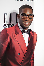 © Licensed to London News Pictures. 18/02/2014. London, UK. Tinie Tempah arrives on the red carpet for the Elle Style Awards on the Embankment in central London. Photo credit : Andrea Baldo/LNP