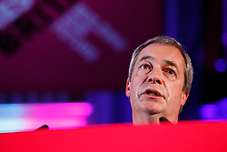 © Licensed to London News Pictures. 17/03/2015. LONDON, UK. UKIP leader Nigel Farage delivering a speech during 'Homes for Britain' rally at Methodist Central Hall in London on Tuesday, 17 March 2015. Photo credit : Tolga Akmen/LNP
