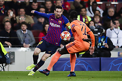 March 13, 2019 - Barcelona, Catalonia, Spain - March 13, 2019 - Barcelona, Spain - Uefa Champions League 1/8 of final second leg, FC Barcelona v Olympique de Lyon: Lionel Messi of FC Barcelona dribbles Mendy of Olympic Lyonnais. (Credit Image: © Marc Dominguez/ZUMA Wire)