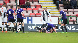 Ayr United's Andy Graham (5) cele scoring their first goal. <br /> half time : Dunfermline 1 v 2 Ayr United, Scottish League One played at East End Park, 13/2/2016.