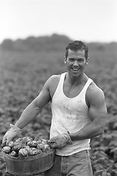Man smiling while carrying a basket of potatoes