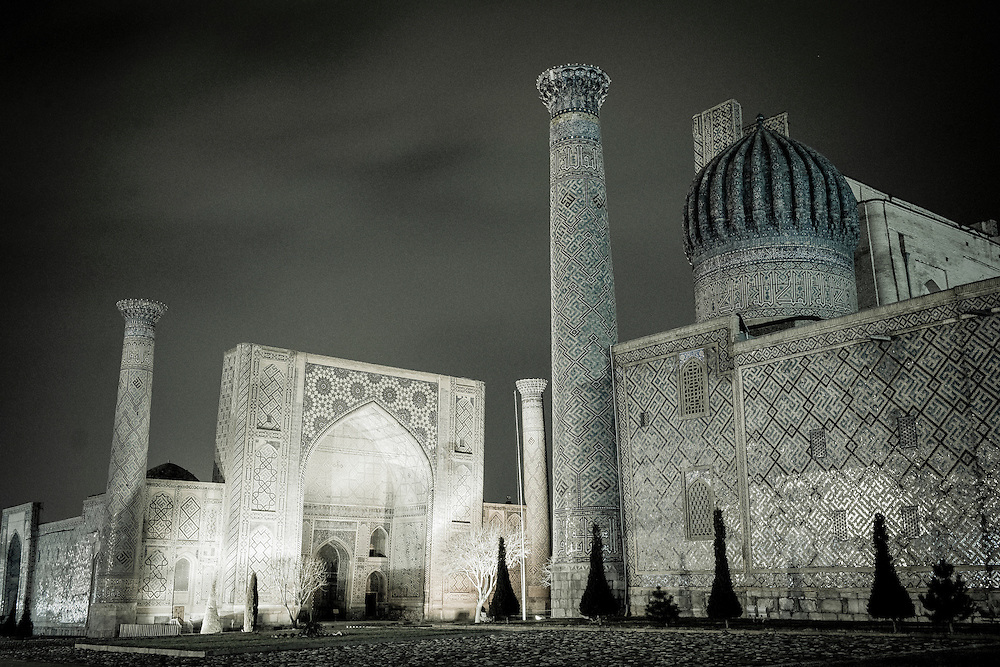 USE ARROWS ← → on your keyboard to navigate this slide-show<br /> <br /> Samarkand, Uzbekistan 17 March 2012<br /> View of the Registan square at night.<br /> The Registan was the heart of the ancient city of Samarkand of the Timurid dynasty, now in Uzbekistan. <br /> The Registan was a public square, where people gathered to hear royal proclamations and a also a place of public executions. It is framed by three madrasahs (Islamic schools) of distinctive Islamic architecture.<br /> Photo: Ezequiel Scagnetti