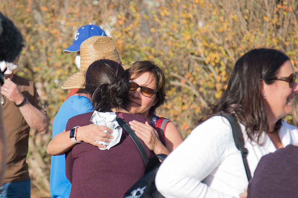 People hags each other after suffering from Ventura fire. They lives around Foothill Blvd, where is the neighborhood affected by Ventura Fire. On Saturday, December 10th, 2017 at Ventura, California. (Photo by Yuki Iwamura)