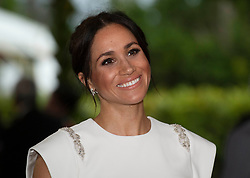 The Duchess of Sussex attending an official welcome at Consular House in Tonga on the first day of their visit to the country.