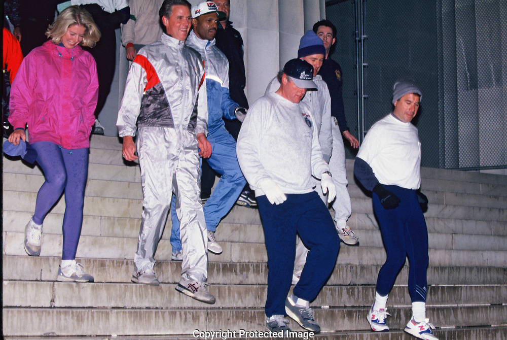 Washington DC 1993/01/22  President William Jefferson Clinton takes an early morning jog and runs down the steps of the Lincoln Memorial<br /><br />Photograph by Dennis Brack
