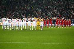 06.11.2011, SGL Arena, Augsburg, GER, 1.FBL, FC Augsburg vs. FC Bayern Muenchen, im Bild  Schweigeminute fuer den getoeteten Polizisten in Augsburg // during the match  FC Augsburg vs. FC Bayern Muenchen , on 2011/11/06, SGL Arena, Augsburg, Germany, EXPA Pictures © 2011, PhotoCredit: EXPA/ nph/  Straubmeier       ****** out of GER / CRO  / BEL ******