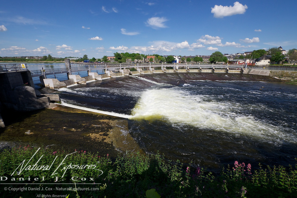 Spillway and dam on the Corrib river, Galway, Ireland.