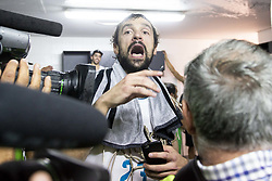 June 19, 2018 - Vitoria, Spain - Real Madrid Sergio Llull celebrating the championship during Liga Endesa Finals match (4th game) between Kirolbet Baskonia and Real Madrid at Fernando Buesa Arena in Vitoria, Spain. June 19, 2018. (Credit Image: © Coolmedia/NurPhoto via ZUMA Press)