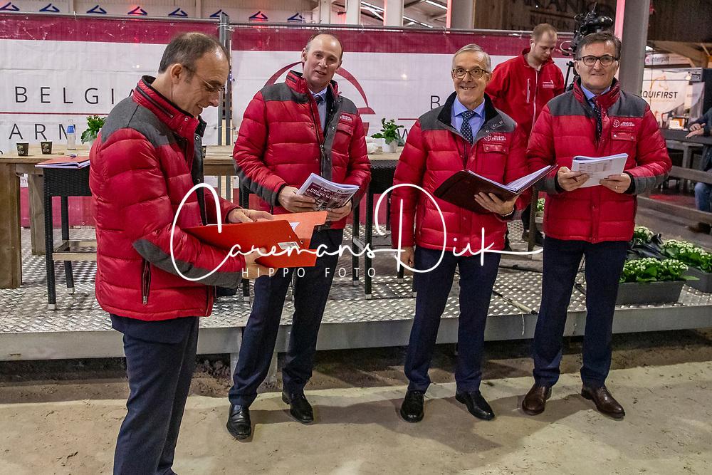 Keurinscommissie dressuur hengsten, Stefaan De SMet, Tom Heylen, Jef Govaerts, Jean Pierre De Waele, Inge Meurrens<br /> BWP Hengsten Keuring - Lier 2020<br /> © Hippo Foto - Dirk Caremans<br /> 16/01/2020