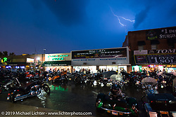 Lightening - A terrible storm moved through Sturgis on the final Saturday evening of the annual Black Hills Motorcycle Rally. SD, USA. August 9, 2014.  Photography ©2014 Michael Lichter.