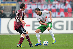 17.09.2011, easy Credit Stadion, Nuernberg, GER, 1.FBL, 1. FC Nürnberg / Nuernberg vs SV Werder Bremen, im Bild:.Jens Hegeler (Nuernberg #13) gg Lukas Schmitz (Bremen #13).// during the Match GER, 1.FBL, 1. FC Nürnberg / Nuernberg vs SV Werder Bremen on 2011/09/17, easy Credit Stadion, Nuernberg, Germany..EXPA Pictures © 2011, PhotoCredit: EXPA/ nph/  Will       ****** out of GER / CRO  / BEL ******