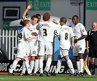 Photo: Paul Thomas.<br /> MK Dons v Swindon Town. Coca Cola League 1.<br /> 01/10/2005.<br /> <br /> MK Dons number 13 Gareth Edds and his team celebrate his goal.