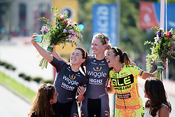 Podium selfie with Chloe Hosking, Jolien D'hoore and Marta Bastianelli at Madrid Challenge by La Vuelta an 87km road race in Madrid, Spain on 11th September 2016.