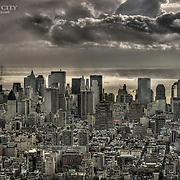 Looking toward Lower Manhattan from the south side of the observation deck at the Empire State Building