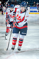 KELOWNA, CANADA - OCTOBER 16: Russell Maxwell #7 of the Lethbridge Hurricanes warms up against the Kelowna Rockets on October 16, 2013 at Prospera Place in Kelowna, British Columbia, Canada.   (Photo by Marissa Baecker/Shoot the Breeze)  ***  Local Caption  ***