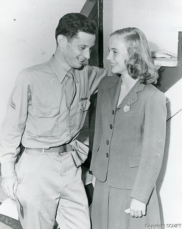 1943 Actress, Peggy Ann Garner chats with a visiting serviceman at the Hollywood Canteen