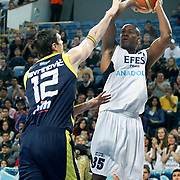 Efes Pilsen's Erwin DUDLEY (R) during their Turkish Basketball league derby match Efes Pilsen between Fenerbahce Ulker at the Sinan Erdem Arena in Istanbul Turkey on Sunday 24 April 2011. Photo by TURKPIX