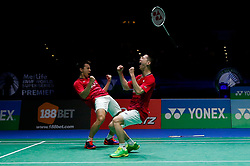 March 12, 2017 - Birmingham, United Kingdom - Indonesia's MARCUS FERNALDI GIDEON (L) and KEVIN SANJAYA SUKAMULJO celebrate victory in the men's doubles final of the Yonex All England Open Badminton Championships at Barclaycard Arena. (Credit Image: © Andrew Boyers/Action Images via ZUMA Press)